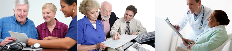 senior couple talking to a caregiver, senior couple checking their insurance and a doctor explaining to a senior woman